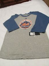 Adidas-NEW YORK METS Gray & Blue 3/4 Sleeve Raglan Shirt - Youth Large 14-16 NEW