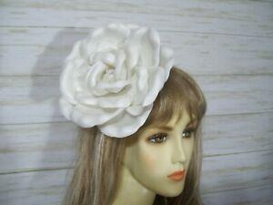 White Wedding Rose Fascinator Hat Kentucky Derby Rose Tea Party Hat Bridal