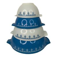 Snowflake Garland Cinderella Blue Pyrex Nesting Bowls 1972 set 444 443 442 441