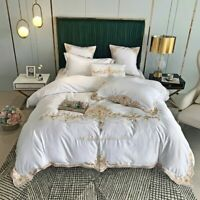 Washed Silk Bedding Set Cotton Duvet Cover Bed Linen Fitted Sheet Pillowcases