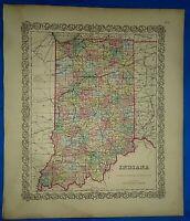 Vintage 1857 MAP ~ INDIANA ~ Old Antique Original Colton's Atlas Map