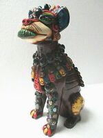 "Mexican Aztec Folk Art Teotihuacan Obsidian Stone Xolo Dog Figure 10"""