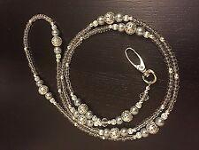 Silver Filigree Grey Pearl Beaded Lanyard ID Badge/Pass/Card Holder Great gift.