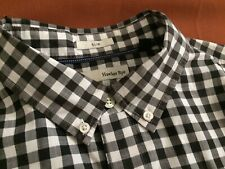Hawker Rye Slim Black White Check Long Sleeve Tapered Shirt L