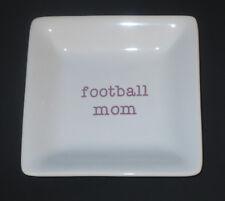 Football Mom Keepsake Dish Trinket Holder Ceramic White Lavender New