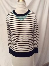 Halogen Black White Striped Turquoise Jeweled Neckline Lightweight Sweater