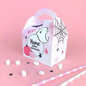 Cute Pink Halloween Ghosts Personalised Children Party Boxes Gift Favour