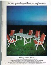 Publicité Advertising 1978 Le salon Patio par Grosfillex