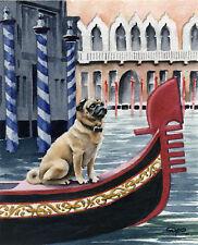 PUG IN VENICE Dog Watercolor LARGE ART Print by Artist DJR