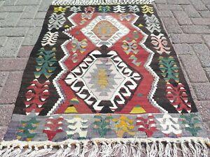 "Door Mat, Turkish Esme Small Kilim, Bathmat, Area Small Rug, Carpet Tapis 31X43"""