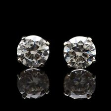 14K White Gold 0.3Ct Created Brilliant Round Stud Screw Back Earrings 3mm