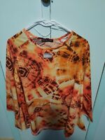 Kim & Cami Orange and Brown Tie Dye Tunic Top, size 1X Long Sleeve