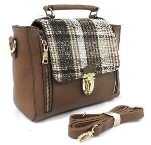 New Ladies Tartan Tweed Messenger Shoulder Satchel Across Body Party Handbag UK