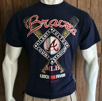 Atlanta Braves Men's XL Tshirt Vintage 90's MLB The Game Fulton County Blue USA
