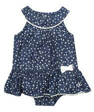CALVIN KLEIN JEANS INFANT GIRLS 2 PC FLORAL DENIM ROMPER DRESS & HEADBAND 18M