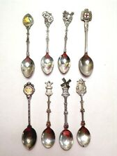 Vtg Silver Plate Souvenir Spoons 8 Distressed England Holland Crafts Jewelry