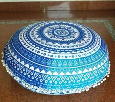 Blue Ombre Round Floor Decor Pillow Cover Meditation Cushion Cover Art