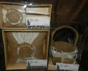 MIB Studio His & Hers Wedding Floral Burlap & Ivory Flower Basket, Pillow, Pen