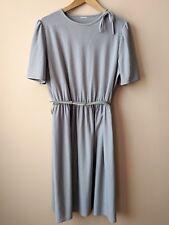 80s vintage grey day dress 16 striped
