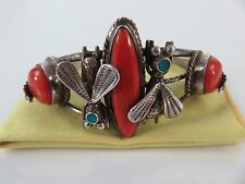 Vintage Navajo Sterling Mediterranean Red Coral Honey Bee Bracelet Cuff, c1940s