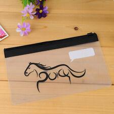 Clear Zip Fasten Pen Case See Through Exam Pencil Case Transparent Cosmetic Bag
