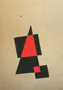 Vintage abstract cubist avant garde gouache painting