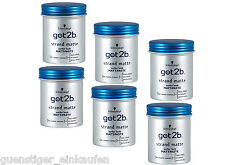 (56,97 €/ L) 6X 100 ml Schwarzkopf got2b Beach Mat Matt Paste Surfer Look