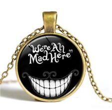Alice In Wonderland We're All Mad Here Necklace Pendant Cheshire Cat UK