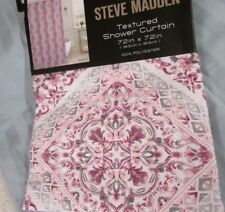STEVE MADDEN SHOWER CURTAIN Pink and Blue Tiles Polyester 72x72