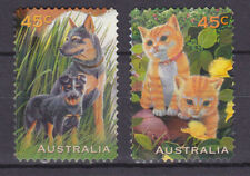 AUSTRALIA 1996 Pets Dogs and cats Adhesive Yv 1552 and 1553 Used very fine