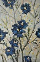 "Original Acrylic Painting Flower Art on Canvas ""Blue flora"" by Hunoz 24""x 36"""