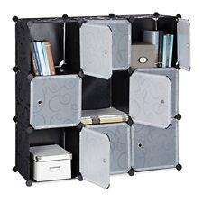 Relaxdays Étagère Rangement 9 casiers portes Plastique modulable DIY Assembla...