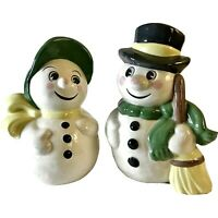 "Vintage 1976 Hobbyist Gare Inc. 9"" Frosty & Mrs. Snowman Green & Yellow Accents"