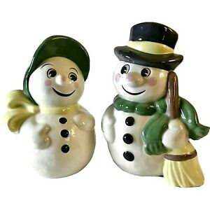 """Vintage 1976 Hobbyist Gare Inc. 9"""" Frosty & Mrs. Snowman Green & Yellow Accents"""