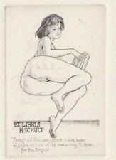 Mark SEVERIN Erotik Exlibris H. Schult Erotic Nude Copper Engraving C2