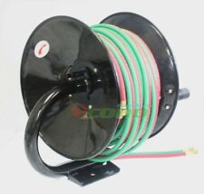 Manual 100ft Twin Oxy Acetylene Welding Hose Reel Mount 300psi 100' Weld Hoses