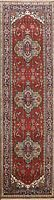 Geometric Indo Heriz Hand-knotted Oriental Runner Rug Traditional Hallway 3'x10'