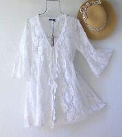 New~White Crochet Lace Peasant Blouse Kimono Cardigan Duster Boho Top~Medium M