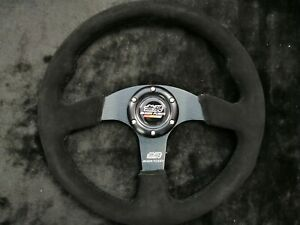 MUGE Flat Steering Wheel 350mm Suede High Quality Black Stitch For MO ND UKNEST