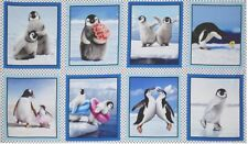 8 SILLY PERKY PENGUINS SKATING BABY ARCTIC PANELS QUILT CRAFTS HOME DECOR