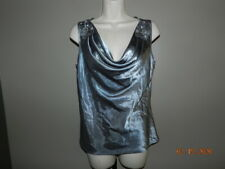 Ronni Nicole Shell Womens Size 10 Silver Sparkles Evening Blouse shimmer steel