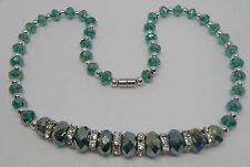 Teal Blue Faceted Graduated Crystal Necklace with Magnetic Clasp