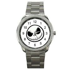 Halloween, Jack Skellington's Face on a Mens or Womens Silver Sports Watch