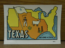 ORIGINAL VINTAGE TRAVEL DECAL TEXAS NOS COWBOY LONESTAR OLD MAP ART RV TRUCK COW