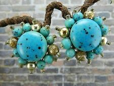 Vintage Japan Turquoise Colored Clip On Earrings