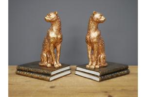 Stunning Pair of Golden Leopard Bookends ~ Book Ends Statuette Ornament