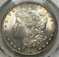 1885 PCGS MS63 Morgan Silver Dollar $1 ~ Rainbow Rim Toned Lustrous Crisp Coin