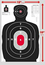 25 Red & Black Silhouette gun rifle paper shooting targets 12X18