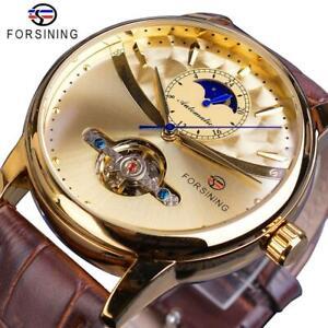 Forsining Tourbillon Automatic Watch Men's Waterproof Mechanical Watch Leather