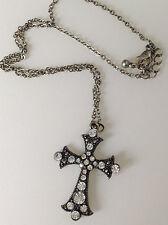 collier rétro chaine couleur argent croix incrusté de cristaux diamant 315